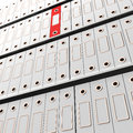 Red File Amongst White For Getting Organized Stock Photography