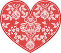 Red fine lace heart with floral pattern Royalty Free Stock Image