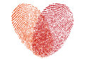 Red fingerprint heart, vector Royalty Free Stock Photo