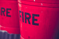 Red fire buckets Royalty Free Stock Photo