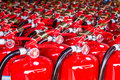 Red fire extinguishers Royalty Free Stock Photo