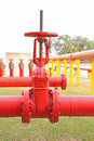 The Red fire hose valve Royalty Free Stock Photo