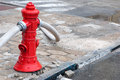 Red fire hydrant in use with hoses connected Royalty Free Stock Photo
