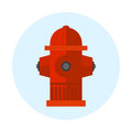Red fire hydrant vector illustration metal pressure prevention street hose water emergency equipment. Royalty Free Stock Photo