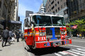 Red fire truck in new york city on duty at fifth avenue manhattan usa Royalty Free Stock Photo