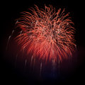 Red fireworks in the night sky Royalty Free Stock Images