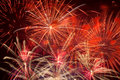 Red fireworks in the night sky colorful Royalty Free Stock Image