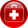 Red first aid button Royalty Free Stock Image