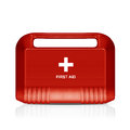 Red first aid kit three dimentional image of isolated on white background with clipping work path Stock Photos