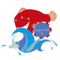 Red fish cute and a water splash Royalty Free Stock Photo