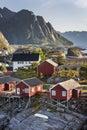 Red fishing hut (rorbu) on the Hamnoy island, Norway Royalty Free Stock Photo