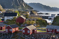 Red fishing hut (rorbu) on the Hamnoy island, Norway Royalty Free Stock Photo