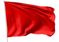 Red flag on flagpole flying in the wind isolated white d illustration Stock Photo