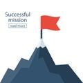 Red flag on mountain peak Royalty Free Stock Photo
