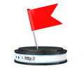 Red flag over browser address bar as round platform pedestal d on a white background rendering Stock Photography