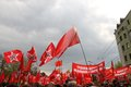 Red flags left front to protest the russian opposition moscow russia may may moscow russia Royalty Free Stock Photo