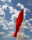 Red flags on the tiananmen square beijing china is a large city in center of Stock Photo