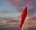 Red flags on the tiananmen square beijing china is a large city in center of Royalty Free Stock Image