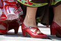 Red flamenco shoes society luna gitana with presentation of their society on dvorni square in ljubljana slovenia on august with Royalty Free Stock Photo