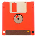 Red floppy disk isolated on white Royalty Free Stock Photo
