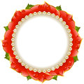 Red Floral Circle Frame Royalty Free Stock Photo