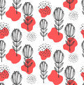Red floral flowers seamless vector pattern
