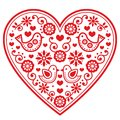 Folk heart pattern with flowers and birds - Valentine`s Day, wedding, birthday greeting card Royalty Free Stock Photo