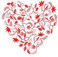 Red floral heart shaped pattern Stock Photo
