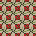 Red flower buds vector pattern. Royalty Free Stock Images