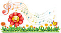 A red flower in the garden with musical notes illustration of on white background Royalty Free Stock Photos