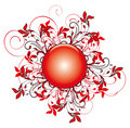 Red flower pattern and round Royalty Free Stock Photo