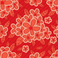 Red flower red background seamless pattern