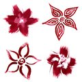 Red flowers abstract brush paint sketch Stock Photography