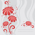Red flowers abstract on gray background in vector Stock Photo