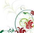 Red flowers and green decoration Stock Image