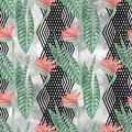 Red flowers, green leaves on a light gray background with black decorative bands. summer design Royalty Free Stock Photo