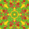 Red flowers and green leaves seamless pattern with pink Royalty Free Stock Photography