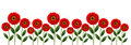 Red flowers line Royalty Free Stock Photo