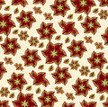 Red flowers pattern composition floral fabtic style in vibrant color in white background Royalty Free Stock Images