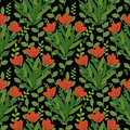 Red flowers pattern seamless with Stock Photos