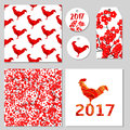 Red flowers and roosters seamless patterns, card, labels, tag. V
