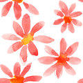 Red flowers seamless pattern watercolor Royalty Free Stock Photo