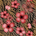 Red flowers on tiger wild skin leather seamless pattern Royalty Free Stock Photo