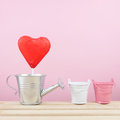 The red foiled chocolate heart stick with small silver watering can Royalty Free Stock Photo