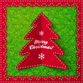 Red folded label christmas tree on ornate background Stock Photography