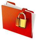 Red folder with golden hinged lock Stock Photos