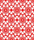 Red folklore patterns. Classical seamless textile patterns on white background. Abstract geometric patterned seamless background.