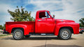 Red 1955 Ford F-100 Pickup Truck Royalty Free Stock Photo
