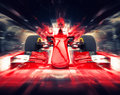 Red formula one car - colorful super zoom Royalty Free Stock Photo