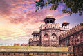 Red fort in india lahore gate of at sunset sky old delhi Royalty Free Stock Images